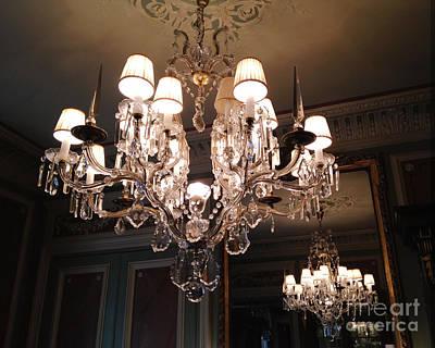 Crystals Photograph - Paris Laduree Dreamy Sparkling Twinkling Chandelier Photo - Paris Crystal Opulent Elegant Chandelier by Kathy Fornal