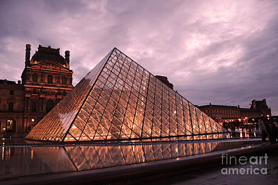 Paris Louvre Museum Dusk Twilight Night Lights - Louvre Pyramid Triangle Night Lights Architecture  Print by Kathy Fornal