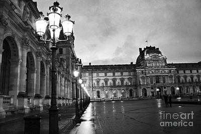 Paris Louvre Museum Lanterns Lamps - Paris Black And White Louvre Museum Architecture Print by Kathy Fornal