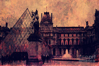 Paris Louvre Museum - Musee Du Louvre - Louvre Pyramid  Print by Kathy Fornal