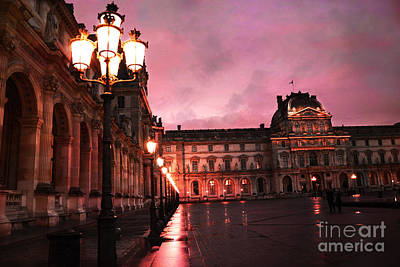 Paris Louvre Museum Night Architecture Street Lamps - Paris Louvre Museum Lanterns Night Lights Print by Kathy Fornal