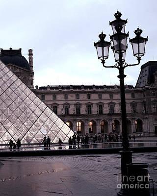 Paris Louvre Museum Pyramid - Paris At Dusk Evening - Paris Street Lamps Lanterns At Louvre Print by Kathy Fornal