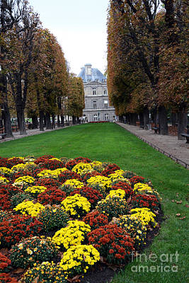 Paris Luxembourg Gardens And Trees - Luxembourg Gardens Parks Autumn - Paris Fall Autumn Colors Print by Kathy Fornal