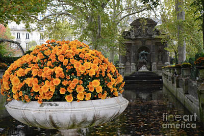 Paris Luxembourg Gardens Autumn Fall Landscape - Medici Fountain Autumn Fall Flowers  Print by Kathy Fornal