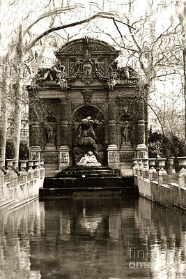 Paris Luxembourg Gardens Sepia - Jardin Du Luxembourg Gardens - Medici Fountain Print by Kathy Fornal