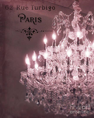 Paris Sparkling Crystal Chandelier - Paris Pink Mauve Crystal Chandelier Decor Print by Kathy Fornal