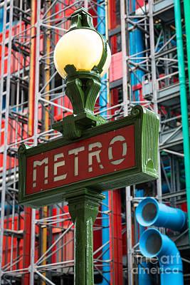 Streetlight Photograph - Paris Metro by Inge Johnsson