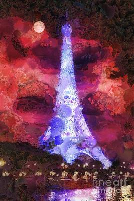Paris Night Print by Mo T