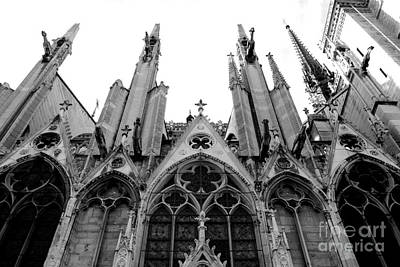 Paris Notre Dame Cathedral Gothic Black And White Gargoyles And Architecture Print by Kathy Fornal