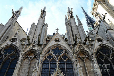 Gargoyle Photograph - Paris Notre Dame Cathedral - Paris Surreal Gothic Gargoyles Spires - Notre Dame Architecture  by Kathy Fornal