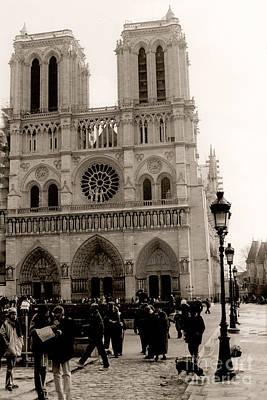 Paris Notre Dame Cathedral Sepia - Paris Vintage Sepia Notre Dame Cathedral Street Photography Print by Kathy Fornal