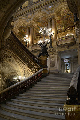 Paris Opera Garnier Grand Staircase - Paris Opera House Architecture Grand Staircase Fine Art Print by Kathy Fornal