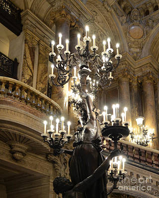 Paris Opera House Chandelier - Opera House Interior Architecture Chandeliers And Statues Print by Kathy Fornal
