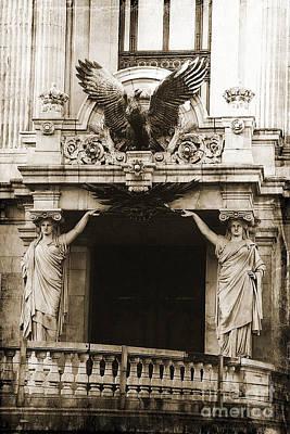 Ornate Photograph - Paris Opera House Ladies Statues Eagle Sculpture Art Deco Obliesks Sepia Photography by Kathy Fornal