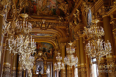 Paris Opera House Opulent Chandeliers - Paris Opera Garnier Chandelier Room - Crystal Chandeliers Print by Kathy Fornal