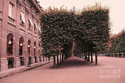 Paris Palais Royal French Palace - Paris Palais Royal Architecture - Paris Surreal Garden And Trees  Print by Kathy Fornal