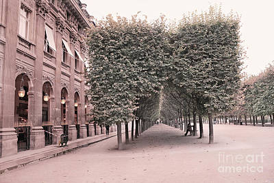 Paris Palais Royal Gardens Trees Architecture - Paris Romantic Palais Royal Garden Landscape Print by Kathy Fornal