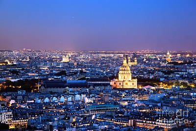 Roofs Photograph - Paris Panorama France At Night by Michal Bednarek