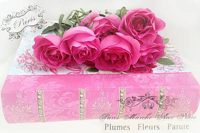 Paris Pink And Red Roses Photography - Dreamy Paris Romantic Roses On Pink Book With French Script  Print by Kathy Fornal