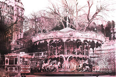 Paris Pink Carousel Merry Go Round- Montmartre District Sacre Coeur Print by Kathy Fornal