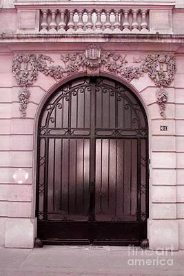 Surreal Paris Decor Photograph - Paris Pink Doors Art Deco - Paris Art Deco Architecture Facade - Romantic Paris Doors by Kathy Fornal