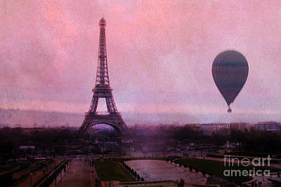 Paris Pink Eiffel Tower With Hot Air Balloon - Paris Eiffel Tower Pink Sky And Balloon Fine Art Print by Kathy Fornal