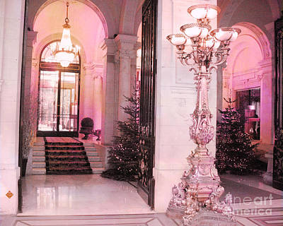 Paris Pink Hotel Holiday Interior Architecture - Paris Dreamy Posh Pink Hotel Christmas Art Deco Print by Kathy Fornal