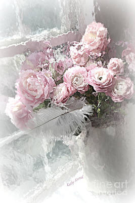 Paris Pink Impressionistic French Roses And Ranunculus - Shabby Chic Romantic Pink Flowers Print by Kathy Fornal