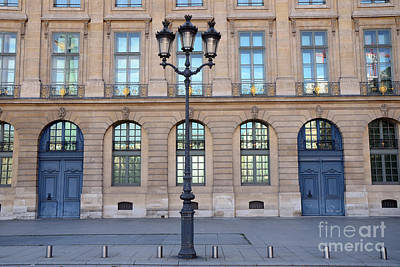 Paris Place Vendome Street Architecture Blue Doors And Street Lamps  Print by Kathy Fornal