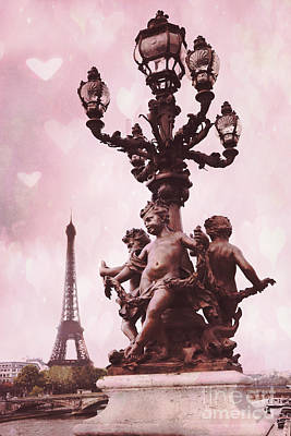 Paris Pont Alexandre Bridge IIi - Romantic Pink Eiffel Tower Valentine Hearts Cherubs And Lantern Print by Kathy Fornal