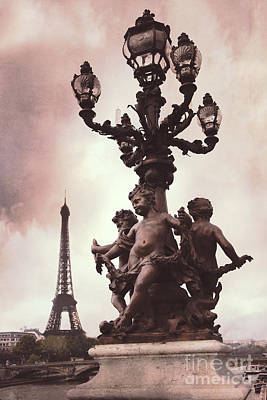 Paris Pont Alexandre IIi Bridge - Paris Ornate Bridge With Eiffel Tower And Cherubs On Lamp Post Print by Kathy Fornal