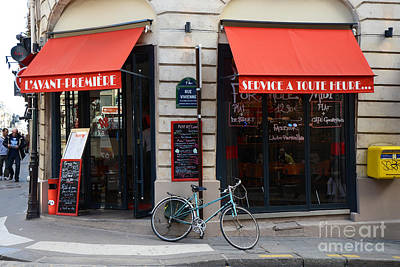 Awning Photograph - Paris Red Canopies And Bicycle Street Photography - Paris In Red Street Corner Photography  by Kathy Fornal