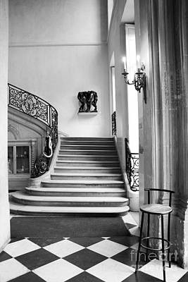 Paris Rodin Museum Black And White Fine Art Architecture - Rodin Museum Entry Staircase Print by Kathy Fornal