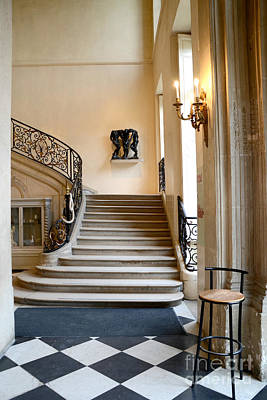Paris Rodin Museum Entry Staircase And Architecture Print by Kathy Fornal