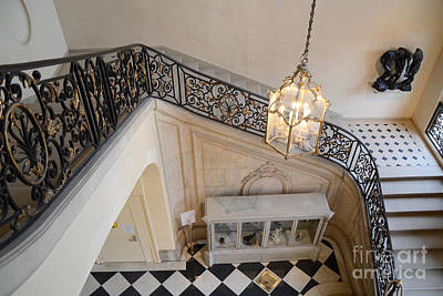 Staircase Photograph - Paris Rodin Museum Staircase - Musee Rodin Staircase Chandelier Architecture - Rodin Museum Stairs by Kathy Fornal
