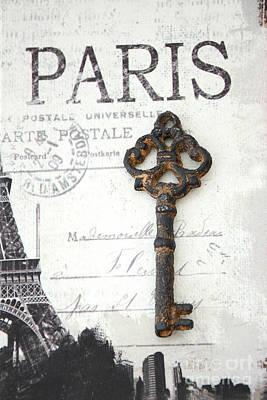 Black And White Paris Photograph - Paris Vintage Key Art - Paris Black And White Vintage Key Decor - Paris Books Skeleton Key  by Kathy Fornal