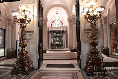 Paris Romantic Hotel Interior Elegant Posh Lanterns Lamps Art Deco Architecture Print by Kathy Fornal
