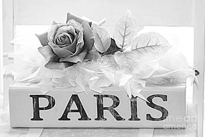 Paris Roses Books Photography  - Dreamy Romantic Paris Black White Books Roses Art Deco  Print by Kathy Fornal
