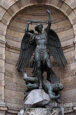 Saint Michael Photograph - Paris - Saint Michael Archangel Statue Monument - Saint Michael Slaying The Devil by Kathy Fornal