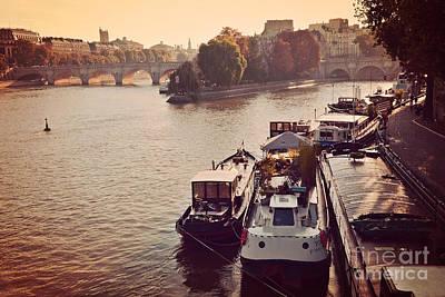 Paris Seine River Fall Autumn - Boats Along The Seine River Print by Kathy Fornal