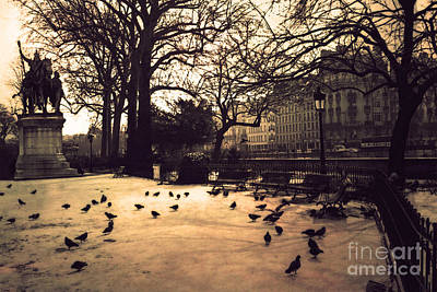 Paris Sepia Photography - Notre Dame Cathedral Courtyard Monuments Statues With Pigeons Print by Kathy Fornal