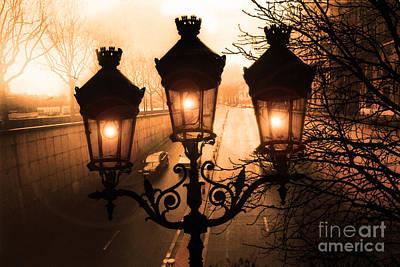 Surreal Art Photograph - Paris Sepia Street Lanterns Lamps - Paris Sepia Autumn Fall Sparkling Sunset Night Lanterns  by Kathy Fornal