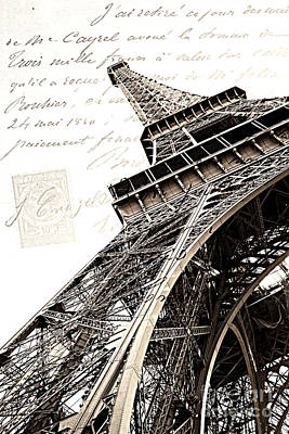 Paris Sepia Vintage Eiffel Tower With French Script Lettering - Letters From Paris  Print by Kathy Fornal