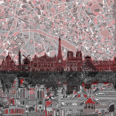 Louvre Digital Art - Paris Skyline Abstract 2 by Bekim Art