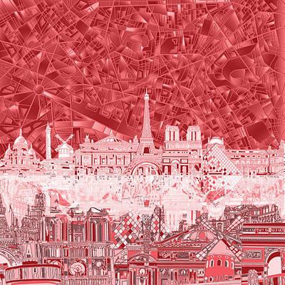 Louvre Digital Art - Paris Skyline Abstract Red  by Bekim Art