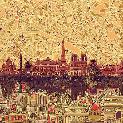 Louvre Digital Art - Paris Skyline Abstract Sepia by Bekim Art