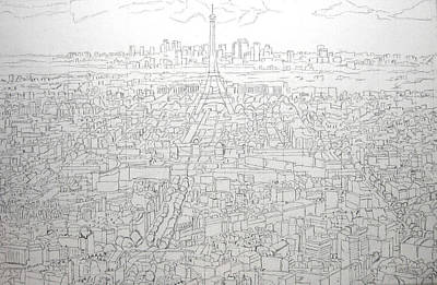Eiffel Tower Drawing - Paris Skyline - Eiffel Tower by Mike Rabe