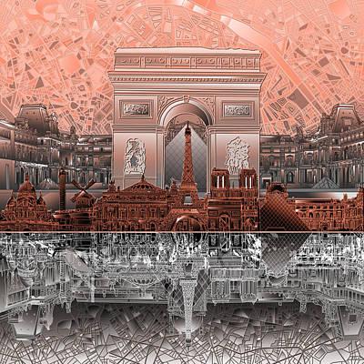 Louvre Digital Art - Paris Skyline Landmarks 2 by Bekim Art