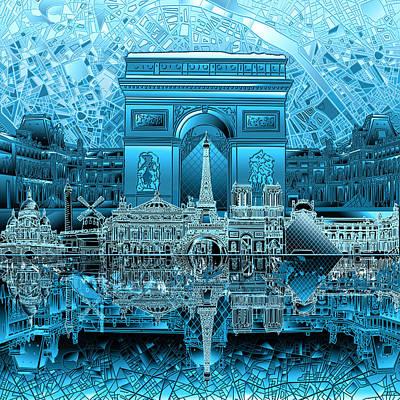 Louvre Digital Art - Paris Skyline Landmarks 3 by Bekim Art