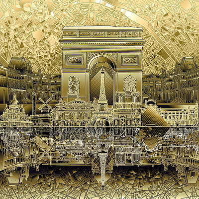 Louvre Digital Art - Paris Skyline Landmarks 4 by Bekim Art